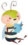 Livro de leitura da abelha ilustração stock