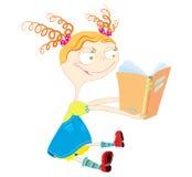 Livro de leitura da menina ilustração do vetor