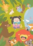 Livro de leitura da menina com animal dos desenhos animados Leão, tigre, girafa, entalhe ilustração royalty free