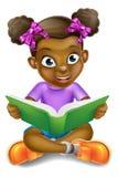 Livro de leitura da menina dos desenhos animados Foto de Stock