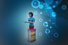 livro de leitura das mulheres 3d, conceito da educação Imagem de Stock Royalty Free