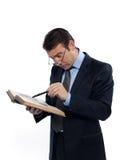 Livro de leitura de ensino do professor do professsor do homem Fotos de Stock