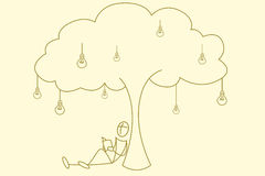 Livro de leitura do estudante sob a árvore do bulbo ilustração do vetor