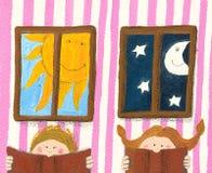 Livro de leitura do menino e da menina Foto de Stock