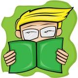 Livro de leitura do menino seriamente ilustração royalty free