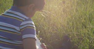 Livro de leitura do rapaz pequeno é senta-se no meio dos raios de Sun do gramado cai para baixo a sua cabeça filme