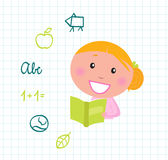 Livro de leitura louro da menina da leitura bonito, ícones da escola Imagens de Stock