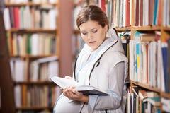Livro de leitura novo da mulher gravida Imagem de Stock