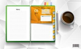 Livro de nota com copo de café ilustração do vetor
