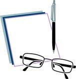 Livro de nota com vidros e pena do olho Imagens de Stock Royalty Free