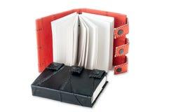 Livro de nota de couro preto Imagens de Stock