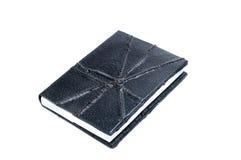 Livro de nota de couro preto Imagem de Stock