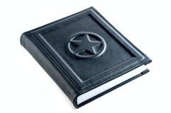 Livro de nota de couro preto Fotos de Stock