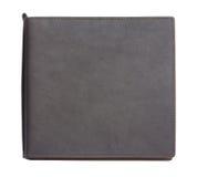Livro de nota de couro preto no fundo branco Imagens de Stock Royalty Free