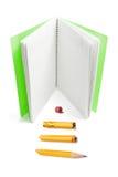 Livro de nota e lápis quebrado Fotografia de Stock Royalty Free