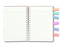 Livro de nota vermelho da tampa aberto Imagens de Stock