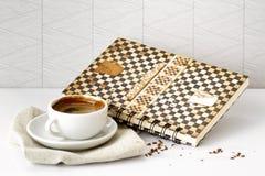 Livro de receitas do café fotos de stock