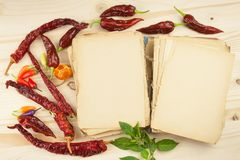 Livro de receitas e especiarias na tabela de madeira Livro de receitas e ingredientes Alho, pimentas de pimentão e cebola Ingredi Imagens de Stock Royalty Free