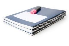 Livro de texto azul da escola foto de stock