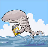 Livro de texto do zoologia da leitura da baleia dos desenhos animados Fotos de Stock Royalty Free