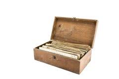 Livro de texto velho na caixa velha Imagens de Stock