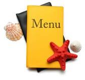 Livro amarelo do menu Fotografia de Stock Royalty Free