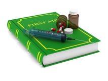Livro do primeiros socorros no fundo branco Ilustração 3d isolada Imagens de Stock