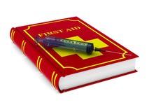 Livro do primeiros socorros no fundo branco Ilustra??o 3d isolada ilustração stock