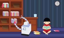 Livro doméstico da colheita do robô da estante quando seu proprietário novo stydying ilustração royalty free