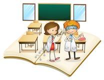 Livro dos cientistas que trabalham na classe ilustração do vetor