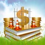 Livro dourado sobre a criação do negócio e de riqueza Foto de Stock
