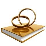 Livro dourado sobre o casamento e o amor Fotografia de Stock Royalty Free