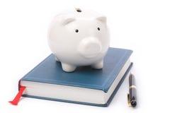 Livro e banco Piggy Fotografia de Stock