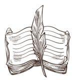 Livro e livro de texto isolado pena da literatura do manuscrito do esboço ilustração stock