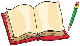 Livro e lápis ilustração do vetor