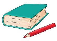 Livro e lápis ilustração stock