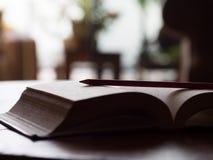 Livro e lápis Fotografia de Stock Royalty Free