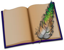Livro e pena Foto de Stock Royalty Free