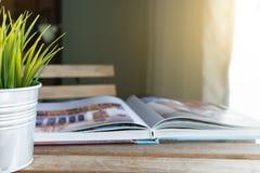 Livro e potenciômetro pequeno na tabela na sala de visitas imagem de stock