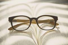 Livro e vidros Estilo do vintage Fotografia de Stock Royalty Free
