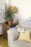 Livro e vidros na parte superior do braço de um sofá Fotografia de Stock Royalty Free
