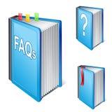 Livro freqüentemente pedido das perguntas ilustração stock