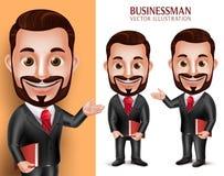 Livro guardando feliz do caráter de Man Student Vetora do advogado Foto de Stock