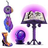 Livro mágico com períodos e o pentagram, bola de vidro Ouija, Dreamcatcher e botas mágicas Esboço para o cartão ilustração do vetor