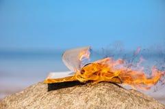 Livro nas chamas fotografia de stock royalty free