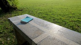 Livro no banco no parque Foto de Stock Royalty Free
