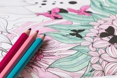 Livro para colorir adulto Imagens de Stock Royalty Free