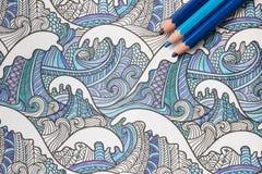 Livro para colorir adulto Foto de Stock Royalty Free