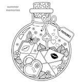 Livro para colorir para adultos Uma embarcação de vidro com memórias do verão Uma garrafa com abelhas, borboletas, joaninha e fol ilustração do vetor