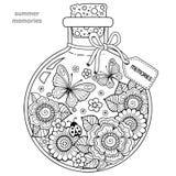 Livro para colorir para adultos Uma embarcação de vidro com memórias do verão Uma garrafa com abelhas, borboletas, joaninha e fol ilustração stock